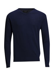 Merino knit with v-neck - DK BLUE