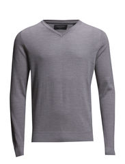 Merino knit with v-neck - LT. GREY MEL