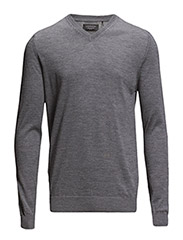 Merinoknitwithv-neck - MED GREY MIX