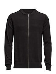 Knitcardiganw.zipper - BLACK