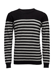 Stripedknitwithstructure - BLACK/GREY M