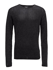 O-neckknitacidwash - BLACK