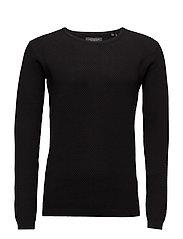 O-neck knit w.special strucktu - BLACK