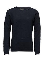O-neck knit w.special strucktu - NAVY
