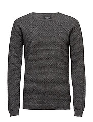 Speciel structured o-neck knit - BLACK MIX