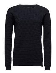 Speciel structured o-neck knit - NAVY