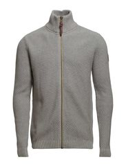 Pearl knit zip cardigan - GREY MEL