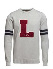 O-neck university knit - GREY MEL