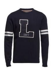 O-neck university knit - NAVY