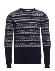 O-neck knit w pattern contrast - NAVY