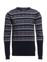 O-neck knit w pattern contrast - NAVY