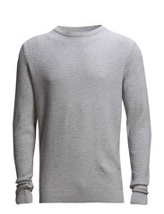 Herringbone o-neck knit - LT GREY MEL