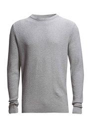 Herringbone o-neck knit - LT GREY MEL
