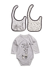 BODY+BIBS SET - GRIS CLAIR CHINE