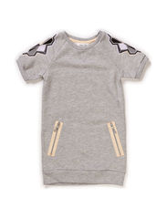 LITTLE PSHILDA SS SWEATDRESS - Light Grey Melange