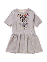 LITTLE PSJILKE SS DRESS - Light Grey Melange