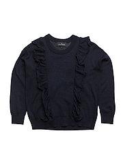 Jr Aza Ruffle Sweater - NAVY