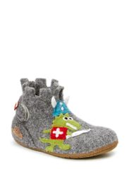 baby shoe with knight's castle - grey