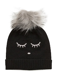 cashmere hat - BLACK SLEEPING CUTIE/ FUR
