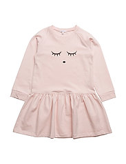 sweatshirt dress - BABY PINK/SLEEPING CUTIE