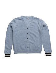 v-neck cashmere cardigan - BLUE/SLEEPING CUTIE