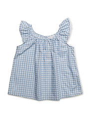 stella top - LIGHT BLUE SQUARES