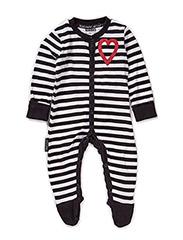 Pyjamas, w foot, striped - blk/wht