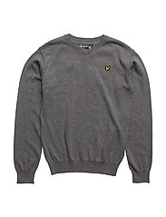 Lyle & Scott Classic V-Neck Jumper - MID GREY MARL