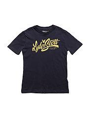 Lyle & Scott Print T-Shirt - DEEP INDIGO/MAIZE