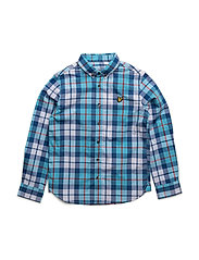 Lyle & Scott Poplin Big Check Shirt Ls - NORSE BLUE
