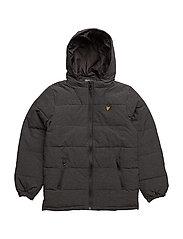 Marl Colour Wadded Puffa Jacket - CHARCOAL MARL
