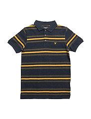 Stripe Polo Ss - NAVY MARL
