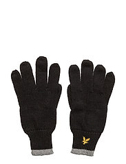 Plain Rib Gloves With Tipping - TRUE BLACK