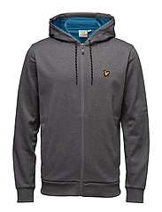 Hill fleece hooded track jacket - MID GREY MARL