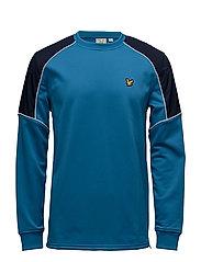 Lewis fleece sweatshirt with overlay - DEEP COBALT