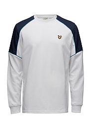 Lewis fleece sweatshirt with overlay - WHITE