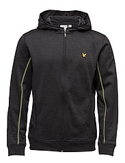 Morris Fleece Hooded Track Top - TRUE BLACK
