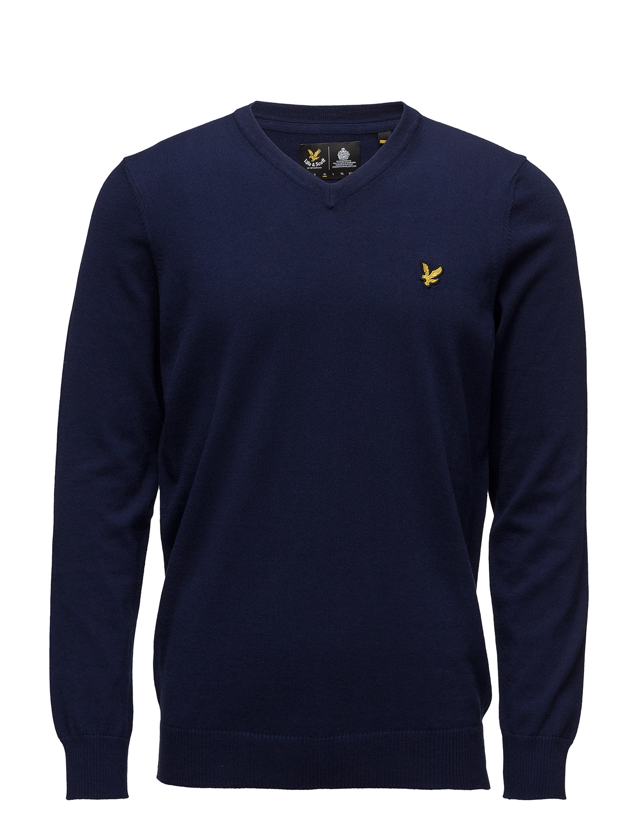 V Neck Cotton Merino Jumper Lyle & Scott V-halsede til Herrer i Navy blå