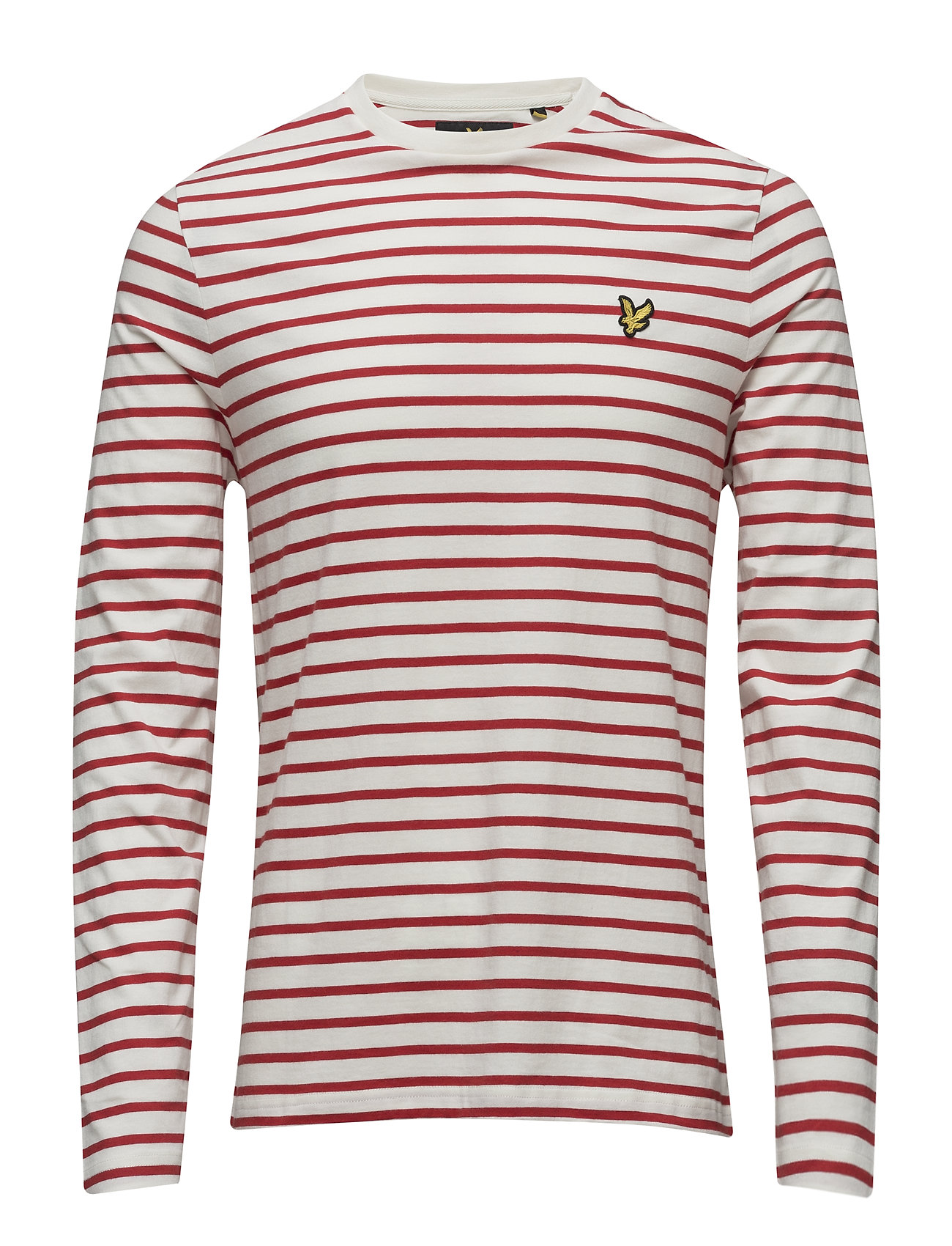 Ls Crew Neck Bretton Stripe Tshirt Lyle & Scott Langærmede til Herrer i Racing Red