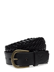 Woven Leather Belt - TRUE BLACK