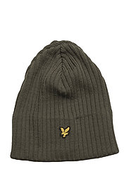 Knitted Ribbed Beanie - OLIVE