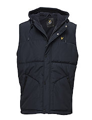 Wadded Hooded Gilet - NAVY JACKET