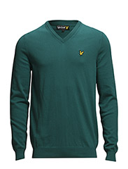 LS V neck cotton 12gg pullover - Green Jacket