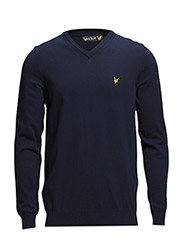 LS V neck cotton 12gg pullover - New Navy