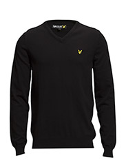 LS V neck cotton 12gg pullover - TRUE BLACK