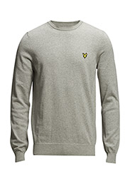 LS Crew neck cotton 12gg pullover - Light Grey Marl