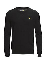 Non-mulesed LS V neck 12gg pullover - TRUE BLACK