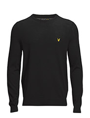 Non-mulesed LS Crew neck merino 12gg pullover - TRUE BLACK