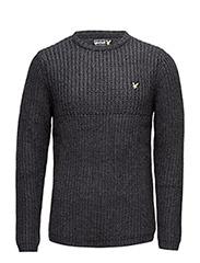 LS Crew Neck half Cardigan Grid stitch 3gg pullover - CHARCOAL MARL