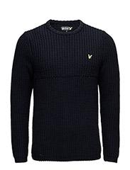 LS Crew Neck half Cardigan Grid stitch 3gg pullover - NEW NAVY